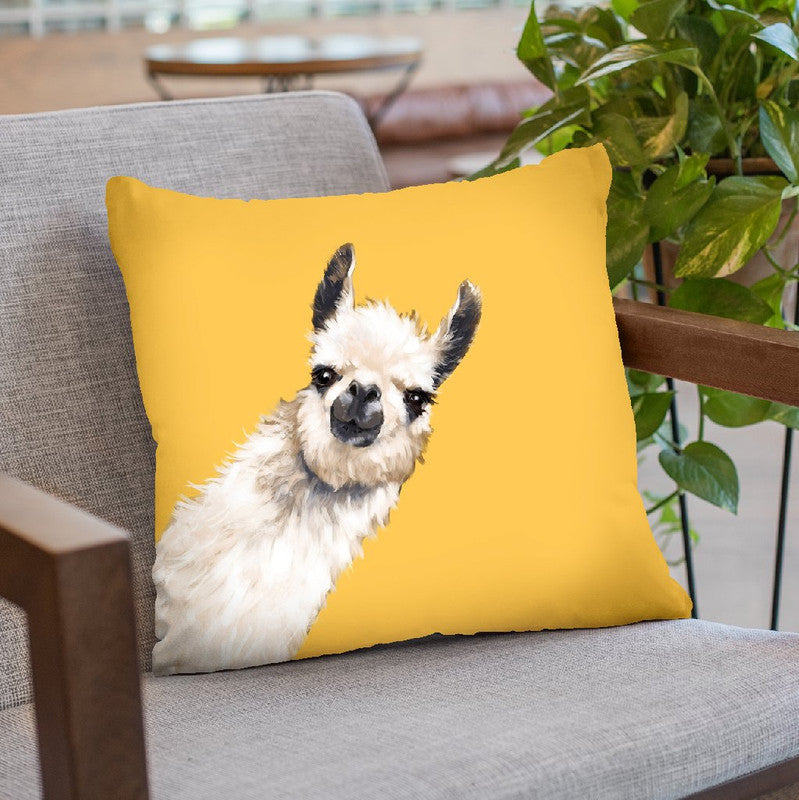 Sneaky Llama in Yellow Throw Pillow by Big Nose Work
