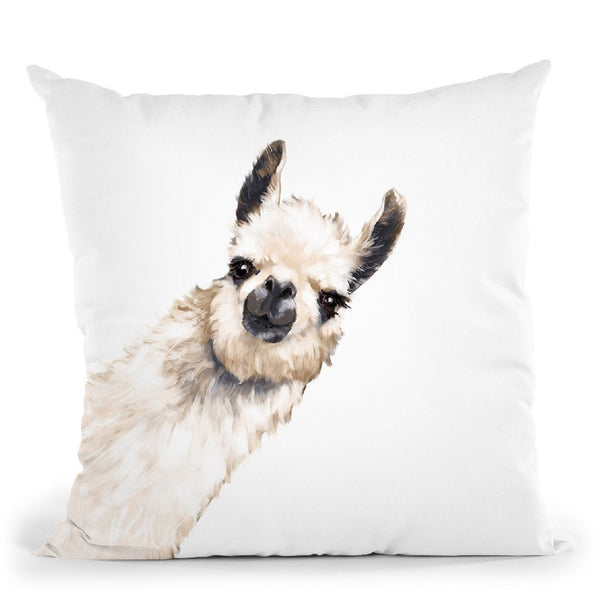 Sneaky Llama White Throw Pillow by Big Nose Work