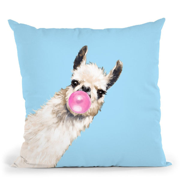 Sneaky Llama with Bubble Gum in Blue Throw Pillow by Big Nose Work