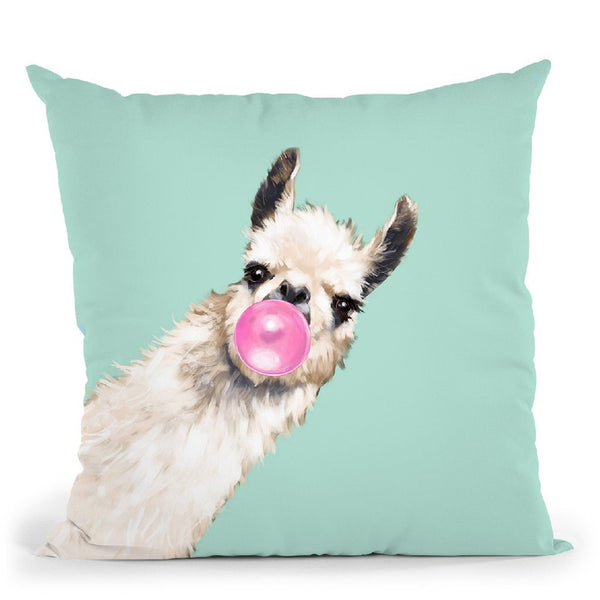 Sneaky Llama with Bubble Gum in Green Throw Pillow by Big Nose Work