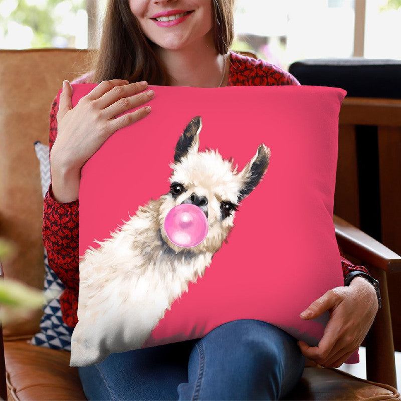 Sneaky Llama with Bubble Gum in Red Throw Pillow by Big Nose Work