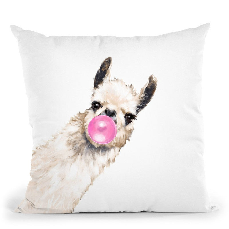 Sneaky Llama with Bubble Gum in White Throw Pillow by Big Nose Work