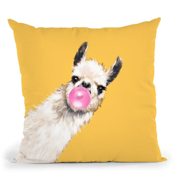 Sneaky Llama with Bubble Gum in Yellow Throw Pillow by Big Nose Work