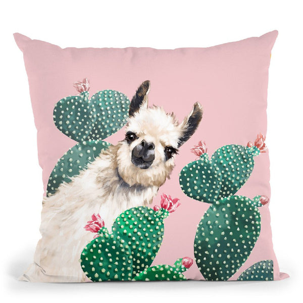 Sneaky Llama with Cactus in Pink Throw Pillow by Big Nose Work