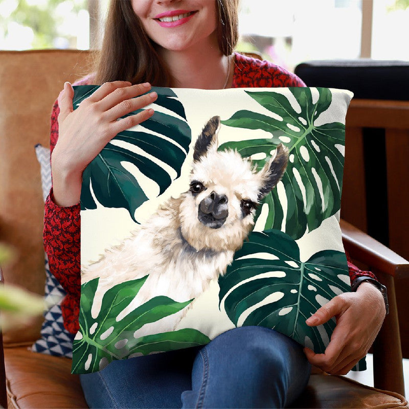 Sneaky Llama with Monstera Throw Pillow by Big Nose Work
