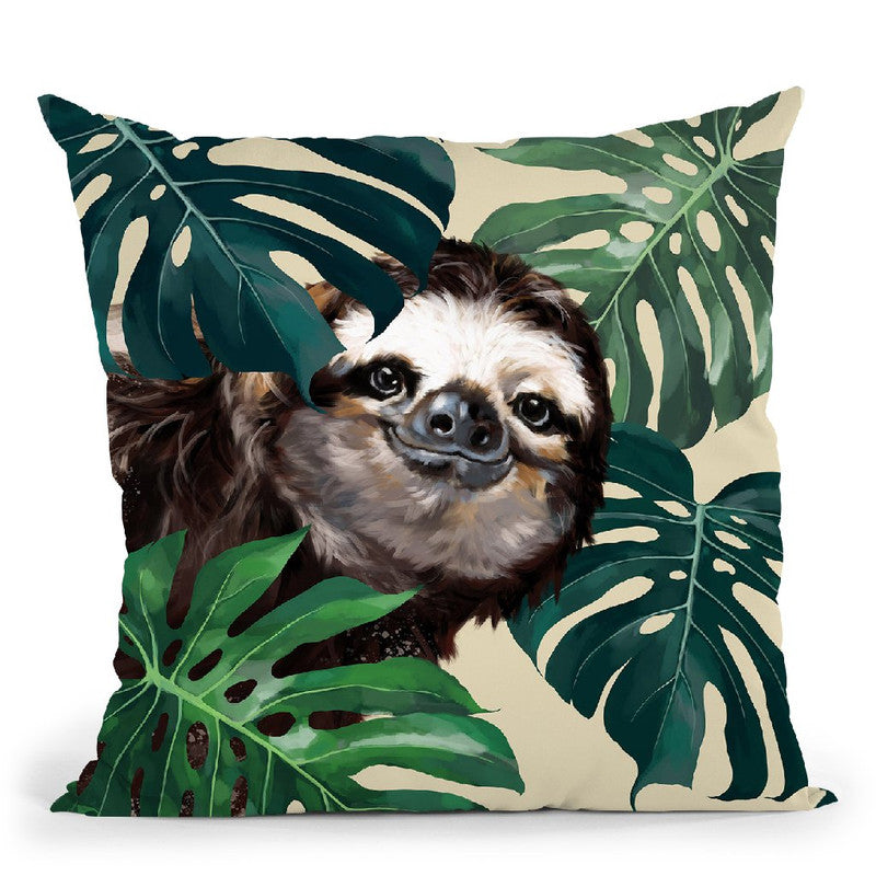 Sneaky Sloth with Monstera Throw Pillow by Big Nose Work