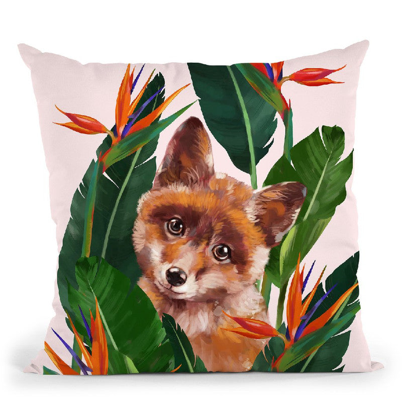 Baby Fox in Bird of Paradise Throw Pillow by Big Nose Work