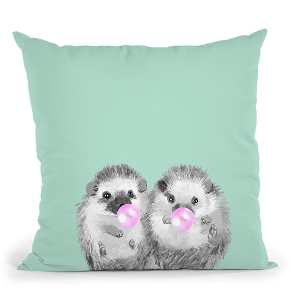 Twin Hedgehogs with Bubble Gum Black and White in Green Throw Pillow by Big Nose Work