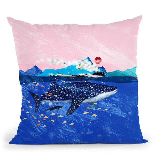 Whale Shark and steam train Throw Pillow by Big Nose Work
