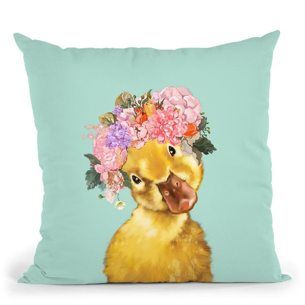 Yellow Duckling with Flower Crown in Green Throw Pillow by Big Nose Work