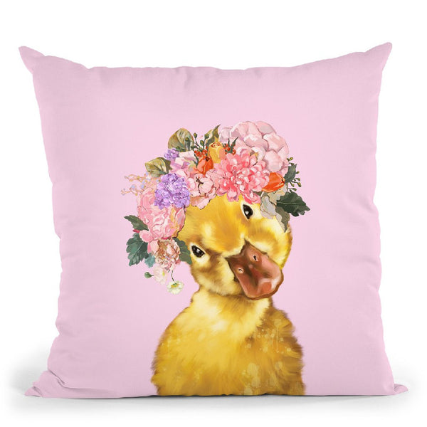 Yellow Duckling with Flower Crown in Pink Throw Pillow by Big Nose Work