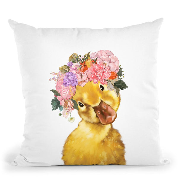 Yellow Duckling with Flower Crown Throw Pillow by Big Nose Work