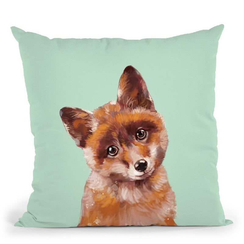 Baby Fox in Green Throw Pillow by Big Nose Work