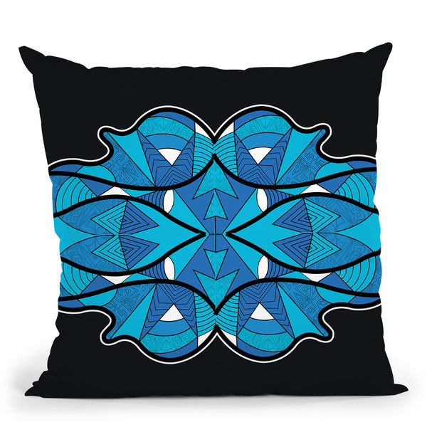 Vagues-Bleu-Noir Throw Pillow By Baro Sarre