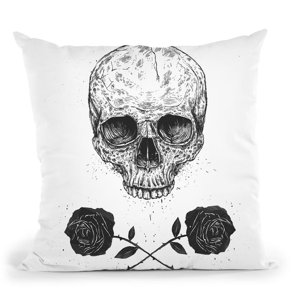 Skull N Roses Throw Pillow By Balazs Solti