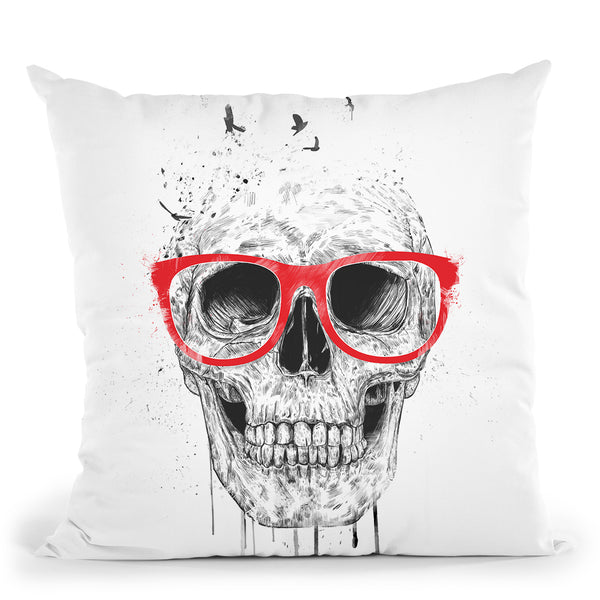 Skull With Red Glasses Throw Pillow By Balazs Solti