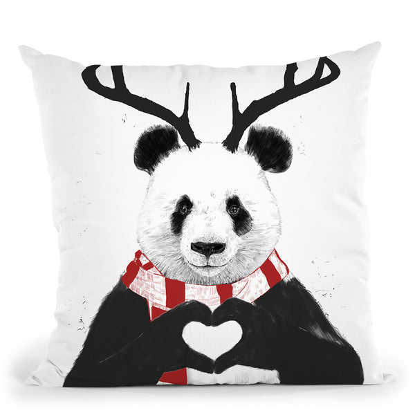 Xmas Panda Throw Pillow By Balazs Solti