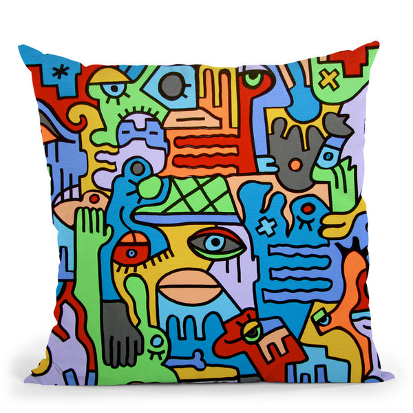 The Hustle And Bustle Throw Pillow By Billy The Artist