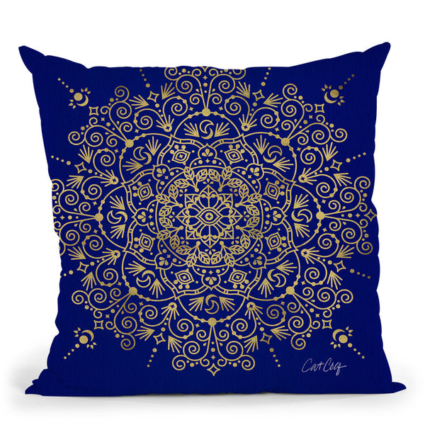 Navy Gold Moroccan Mandala Throw Pillow By Cat Coq