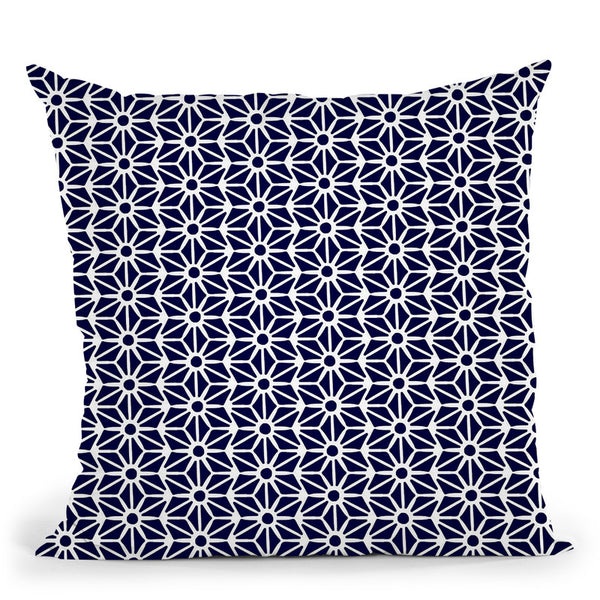 White On Navy Asanoha Pattern Throw Pillow By Cat Coq