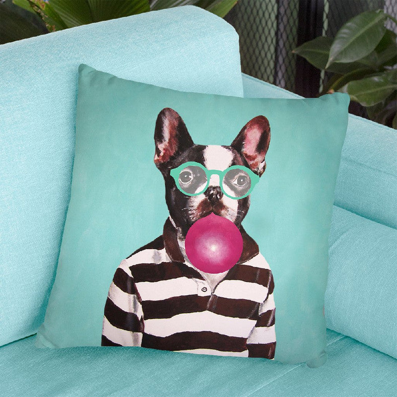 Bulldog With Bubblegum Throw Pillow By Coco De Paris