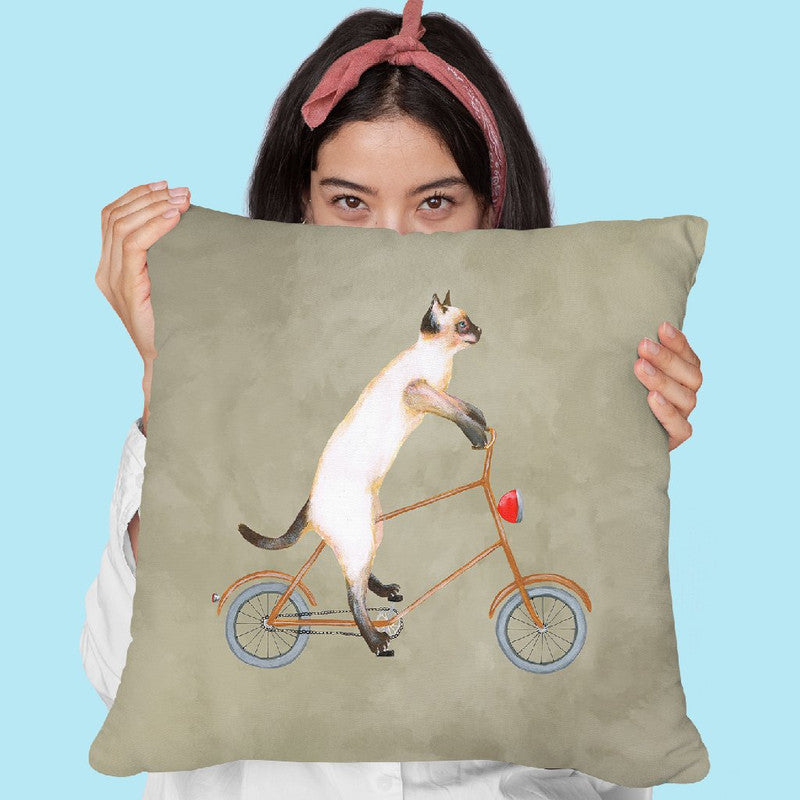 Cat On Bicycle Throw Pillow By Coco De Paris