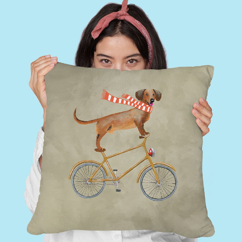 Daschund On Bicycle Throw Pillow By Coco De Paris