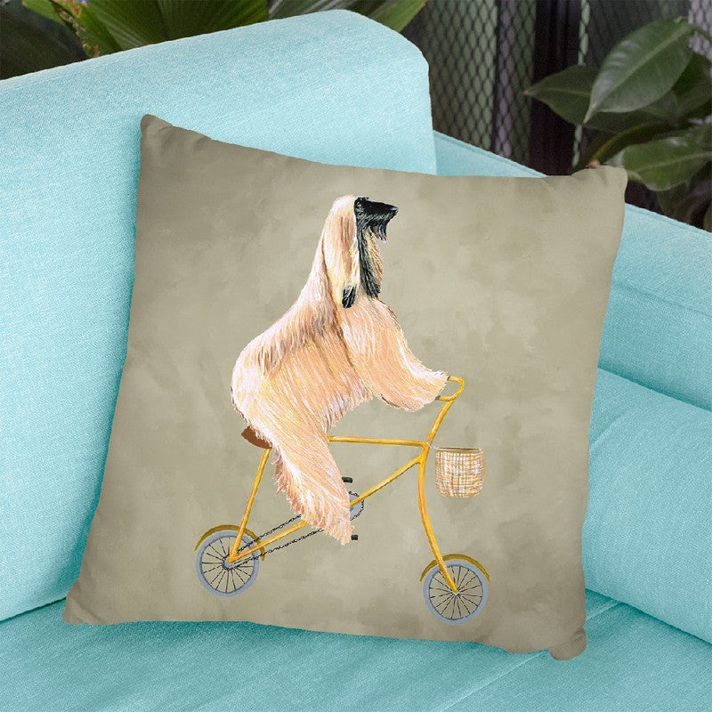 Afghan On Bicycle Throw Pillow By Coco De Paris