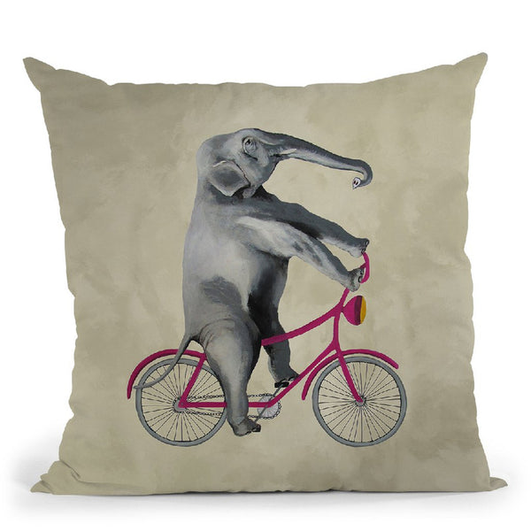 Elephant On Bicycle Throw Pillow By Coco De Paris