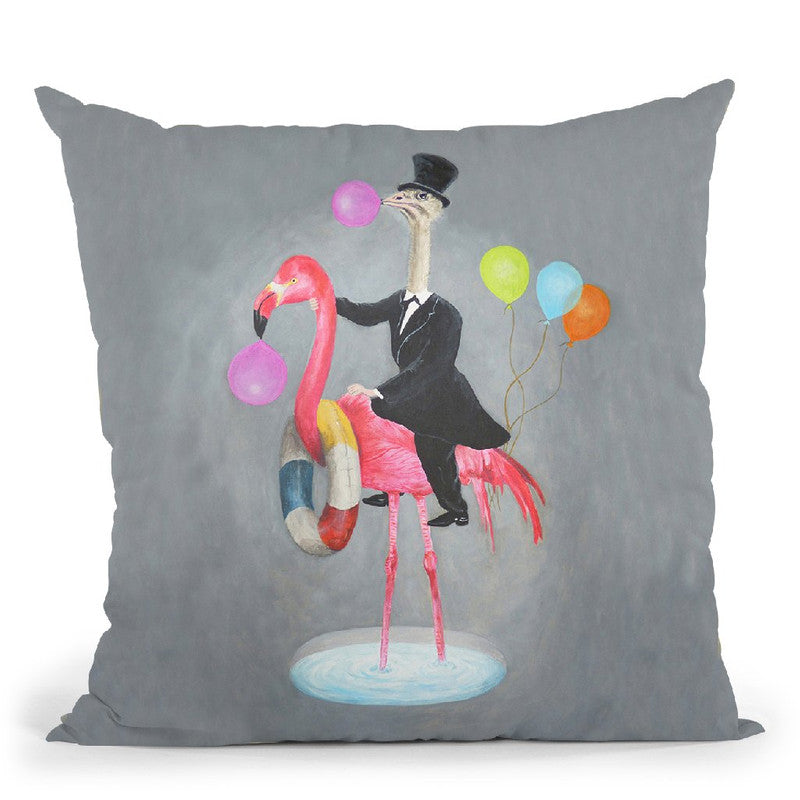 Flamingo With Cow Throw Pillow By Coco De Paris