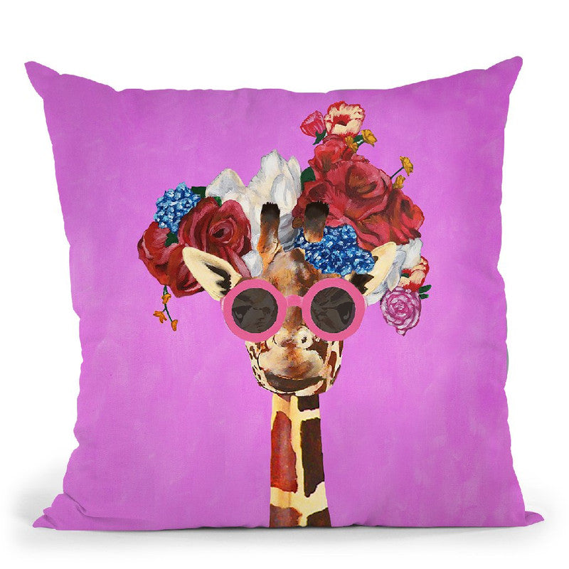 Flower Power Girafe Fushia Throw Pillow By Coco De Paris