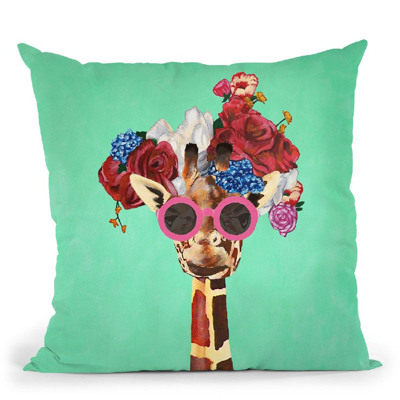 Flower Power Girafe Turquoise Throw Pillow By Coco De Paris