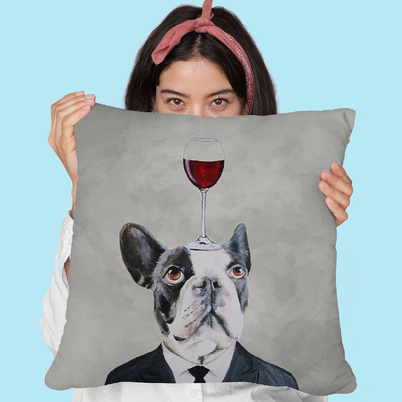 Frenchie With Wineglass Throw Pillow By Coco De Paris