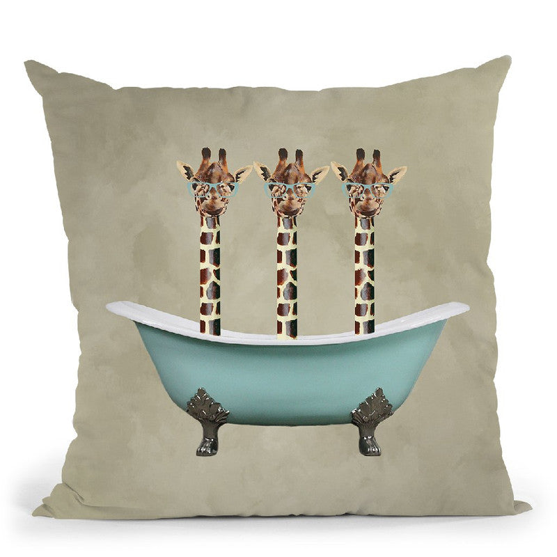 Girafes In Bathtub Throw Pillow By Coco De Paris