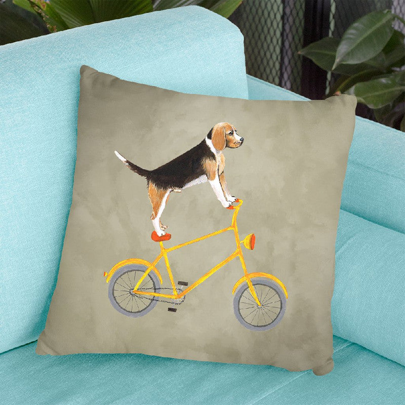 Beagle On Bicycle Throw Pillow By Coco De Paris