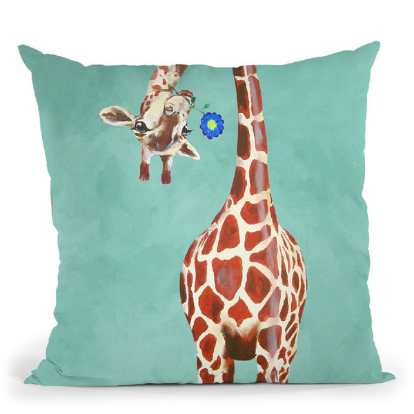 Girafes With Blue Flower Throw Pillow By Coco De Paris