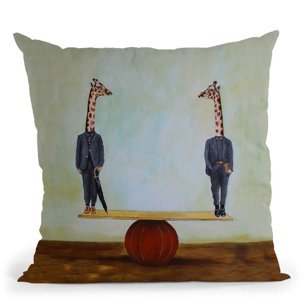 Giraffes In Balance Throw Pillow By Coco De Paris
