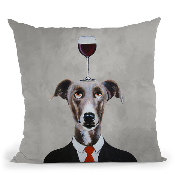Greyhound With Wineglass Throw Pillow By Coco De Paris