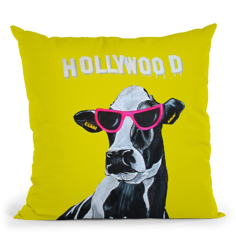 Hollywood Cow Throw Pillow By Coco De Paris