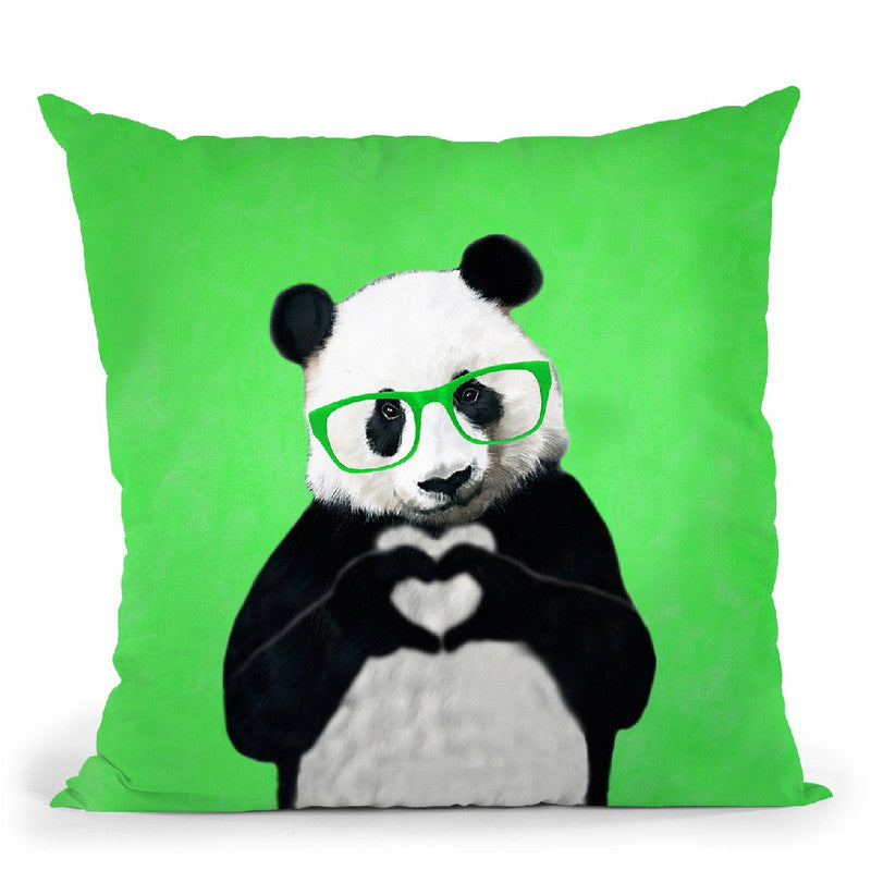 Panda With Fingerheart Green Throw Pillow By Coco De Paris