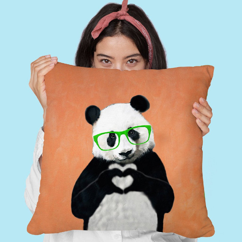 Panda With Fingerheart Orange Throw Pillow By Coco De Paris