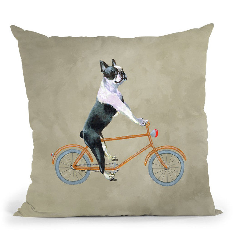 Boston Terrier On Bicycle Throw Pillow By Coco De Paris