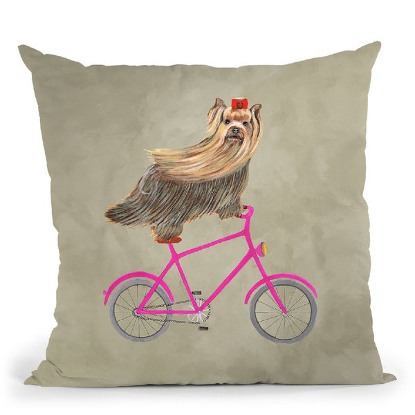Yorkshire On Bicycle Throw Pillow By Coco De Paris