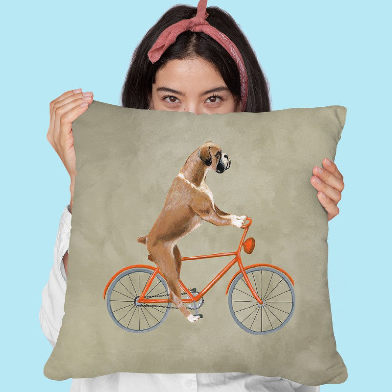 Boxer On Bicycle Throw Pillow By Coco De Paris