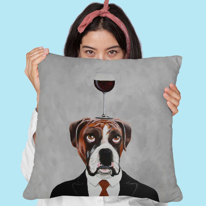 Boxer With Wineglass Throw Pillow By Coco De Paris