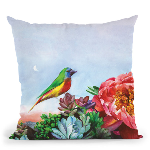 Parrot Finch In A Desert Garden Small Throw Pillow By Christine Lindstrom
