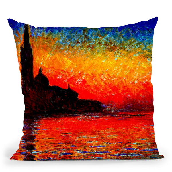 Sunset In Venice Throw Pillow By Claude Monet