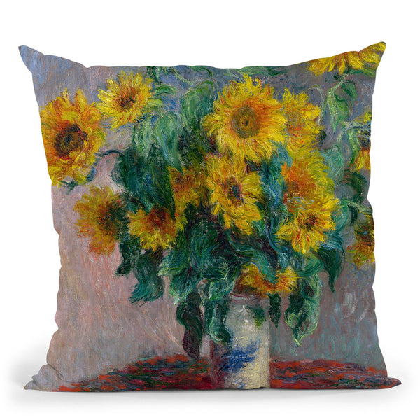 Sunflowers Throw Pillow By Claude Monet