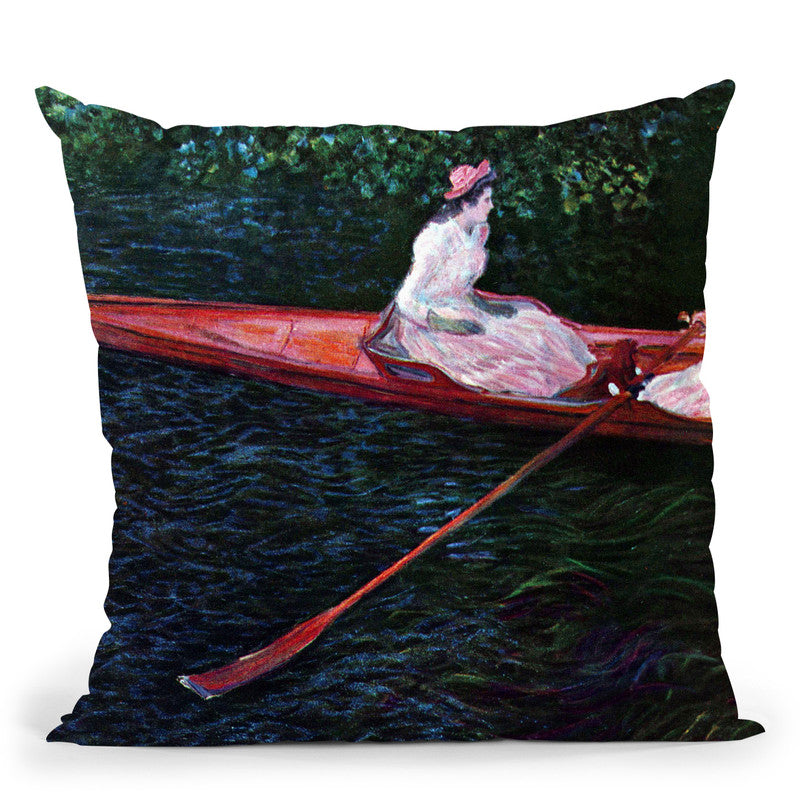 Boating On The River Epte Throw Pillow By Claude Monet