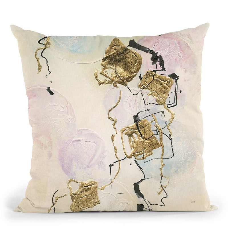 Gold Blocks On Pastel I Throw Pillow By Chris Paschke